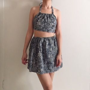 Vintage Reworked Upcycled Top And Skirt